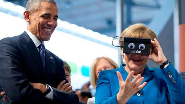 Obama y Merkel en la feria de tecnología industrial de Hannover