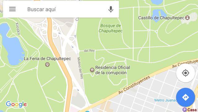 Cambian el nombre de Los Pinos y la Cámara de Diputados en Google Maps