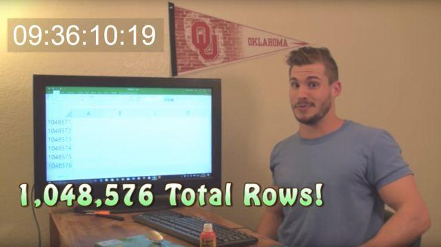 ¡Youtuber llega a la última hoja de Excel!