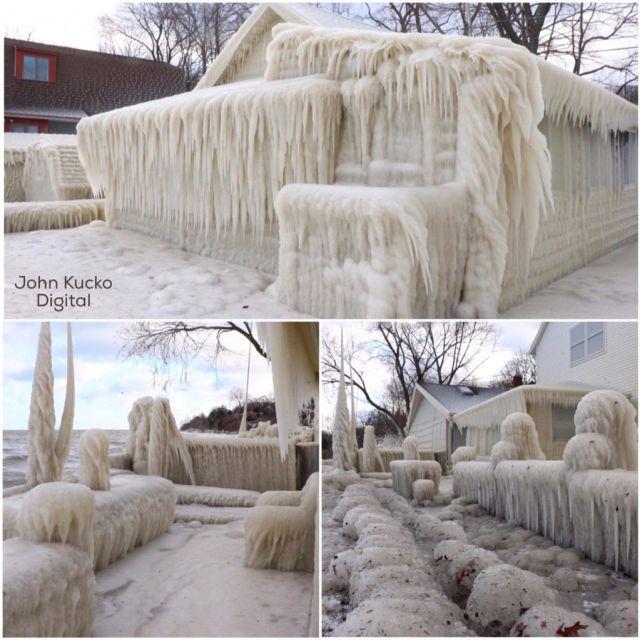 Una casa en Nueva York queda totalmente congelada
