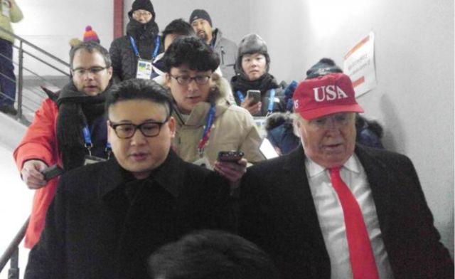 Se disfrazaron de Trump y Kim Jong-Un y los sacaron del estadio en PyeongChang