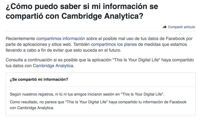 Cómo saber si Cambridge Analytica robó mis datos en Facebook