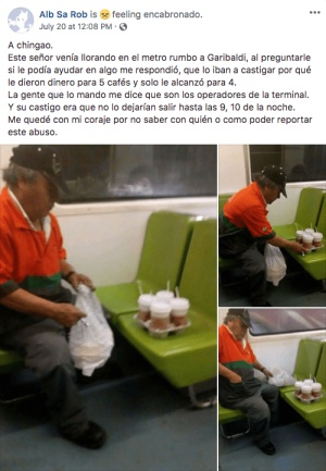 Trabajador del metro llora