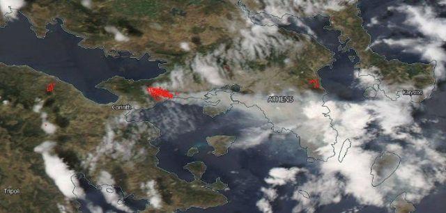 Así se ve el incendio ocurrido en Grecia desde el espacio