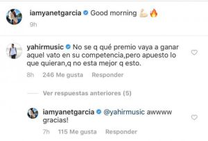 Yahir comenta foto de Yanet García